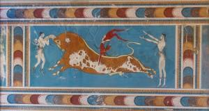 El famoso salto del toro del Palacio de Knossos